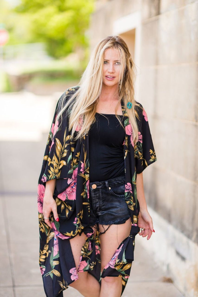 Black Floral Kimono - The Pink Buffalo,LLC