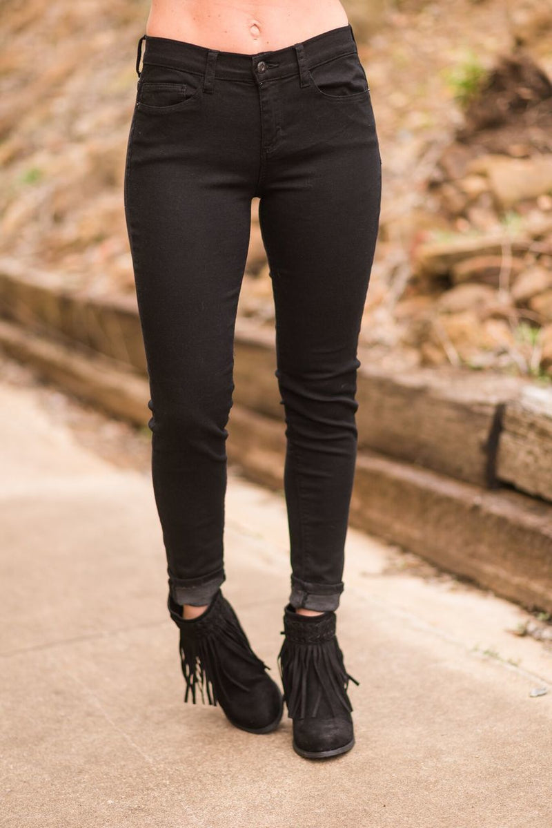 Black Denim Skinny Jeans - The Pink Buffalo,LLC