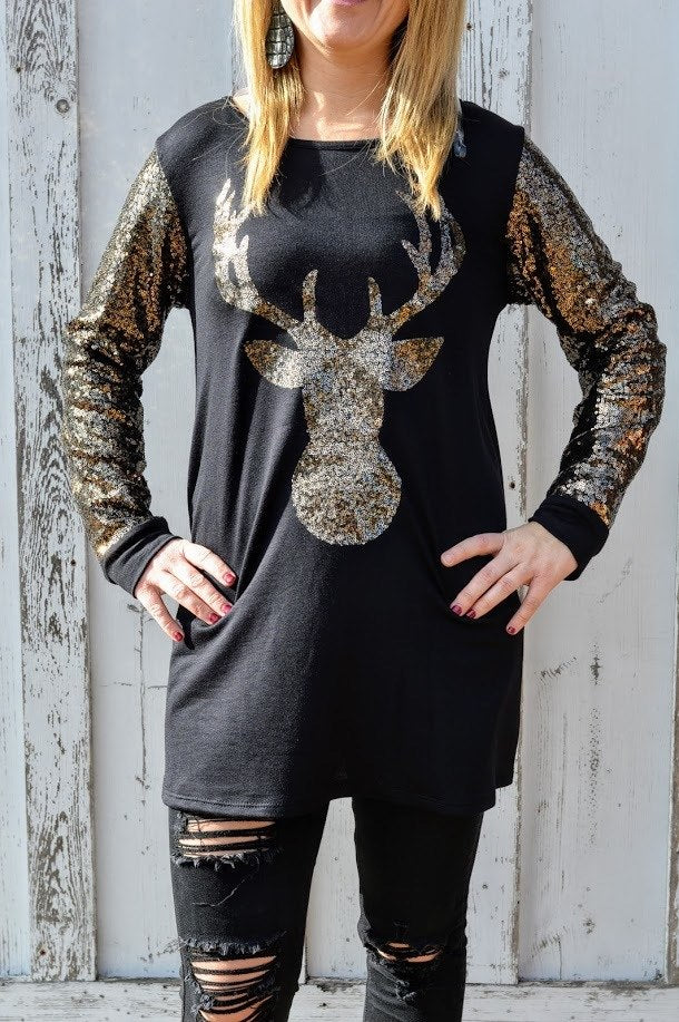 Sequin Reindeer Top