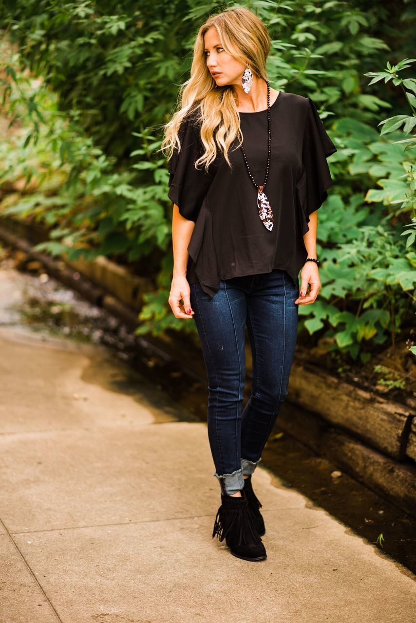 Black Ruffle Top-PLUS - The Pink Buffalo,LLC