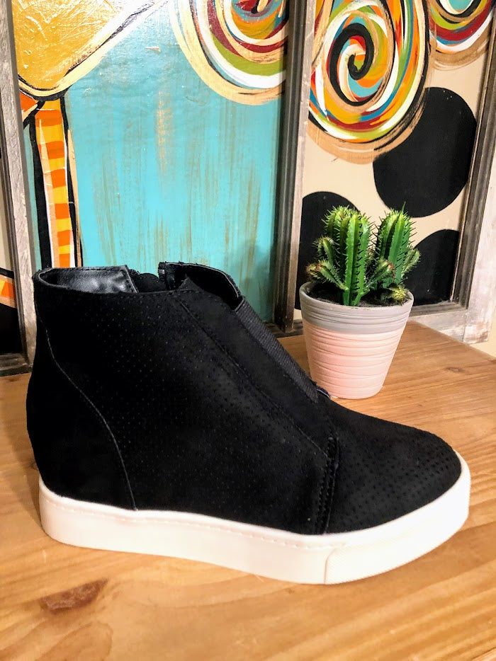 Black Wedge Sneakers with Elastic Band