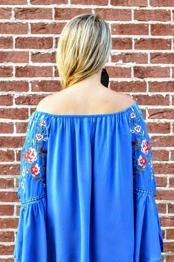 Embroidered Off Shoulder Royal Blue Top