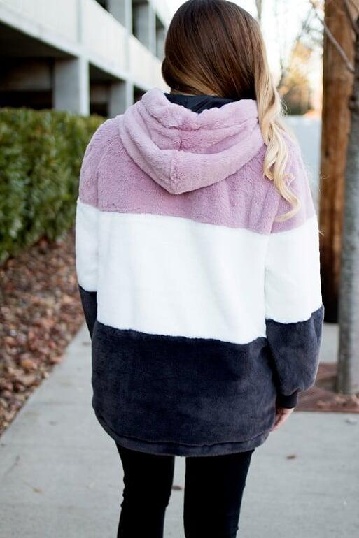 Color Blocked Sherpa-Blush