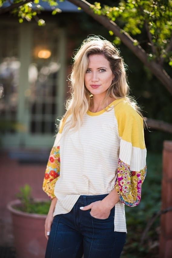 Boho Print Sleeve Top - The Pink Buffalo,LLC