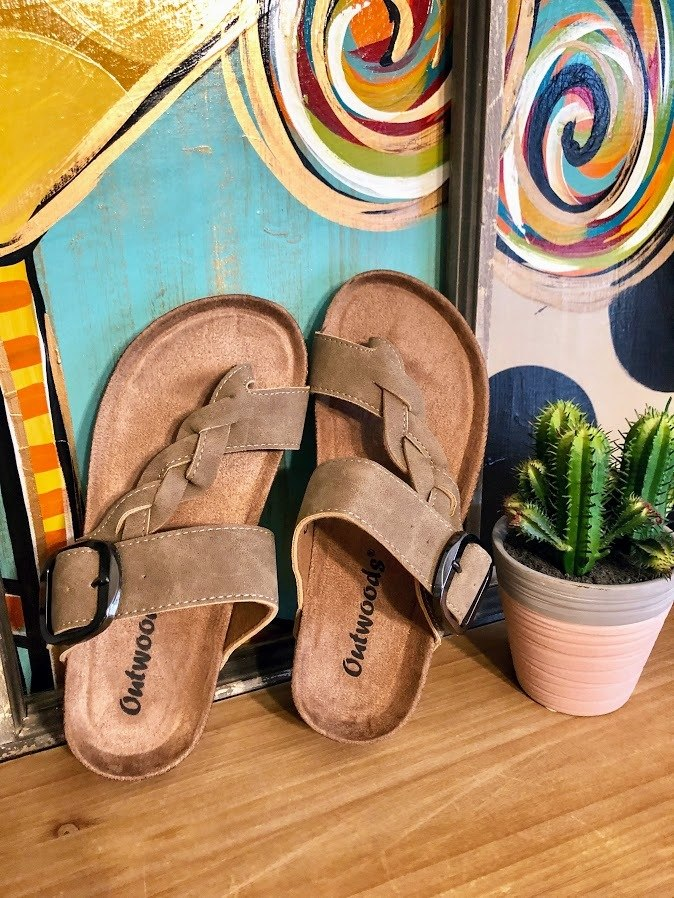 Taupe Braided Sandals