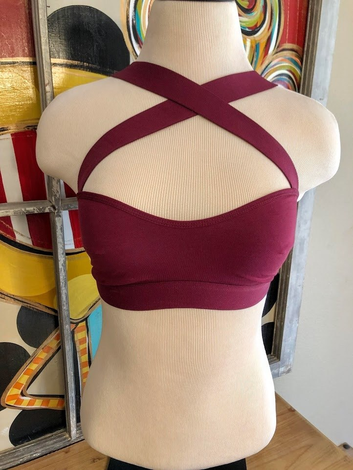 Criss-Cross Bralette-Burgundy - The Pink Buffalo,LLC
