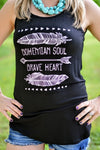 Bohemian Soul, Brave Heart Tank - The Pink Buffalo,LLC
