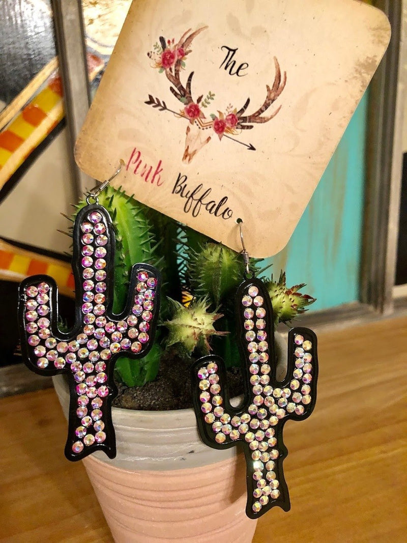 Rhinestone Cactus Earrings-Bronze