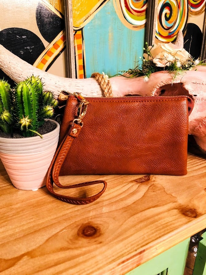 Leather Clutch-Camel