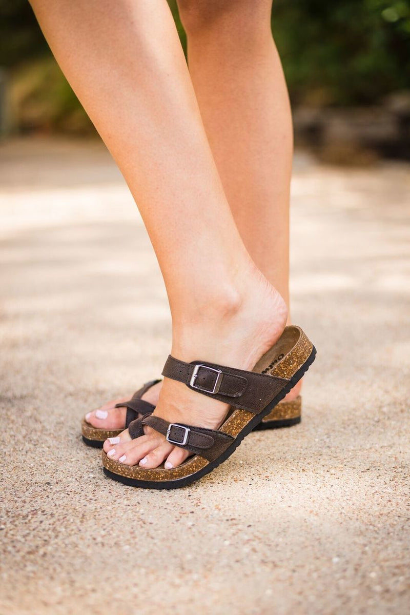 Birkenstock Inspired Sandals-Chocolate - The Pink Buffalo,LLC