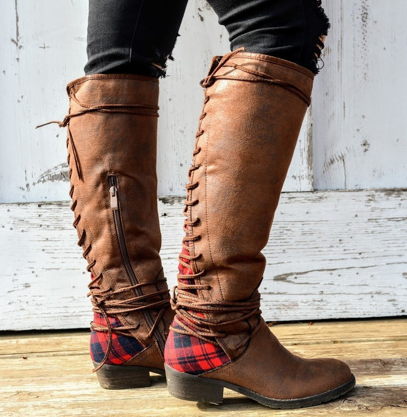 Buffalo Plaid Boots - The Pink Buffalo,LLC
