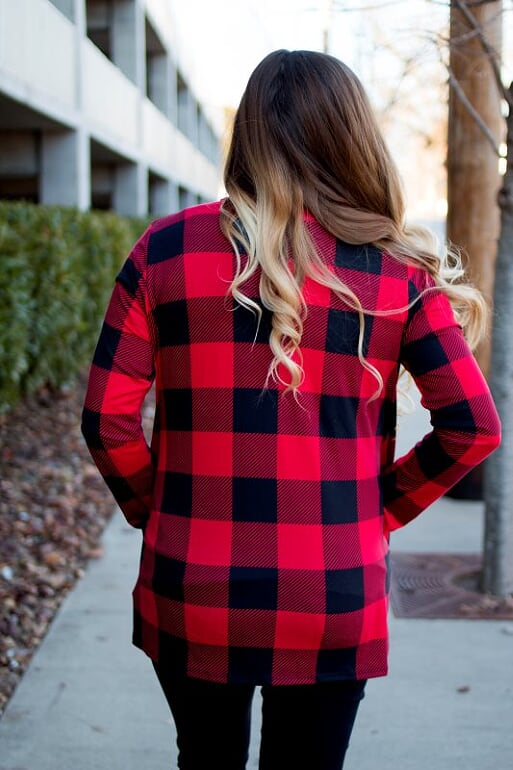 Red Plaid Cardigan