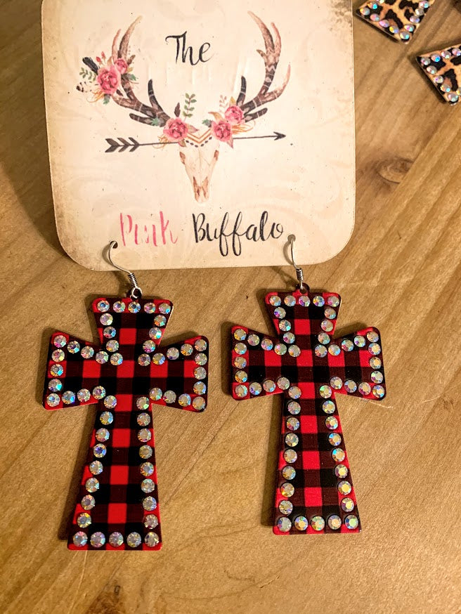 Buffalo Plaid Cross Earrings