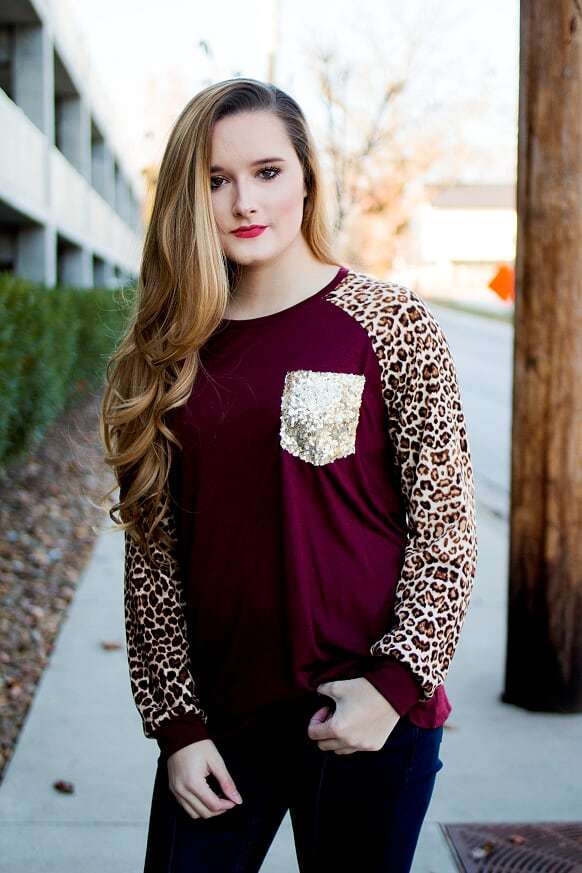 7b87721e2dad Burgundy Sequin Leopard Top - The Pink Buffalo,LLC