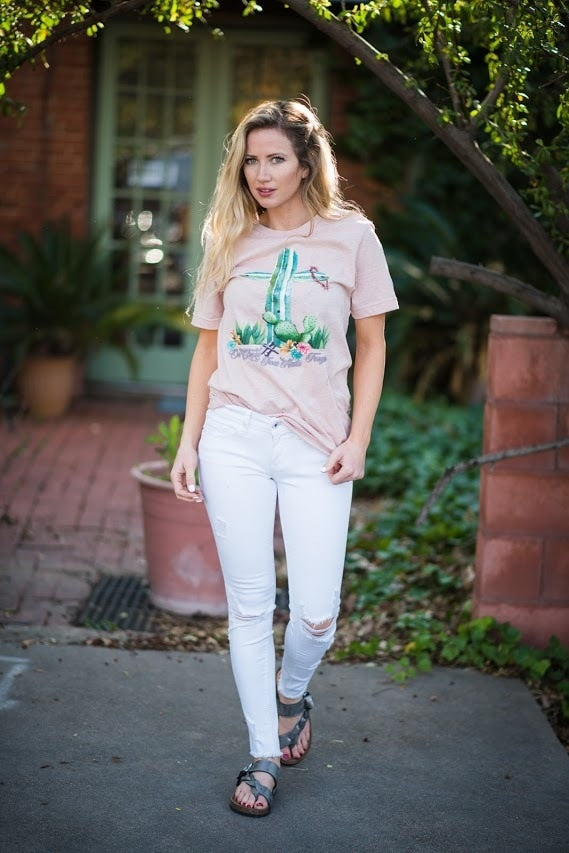 Cactus  Cross Tee - The Pink Buffalo,LLC