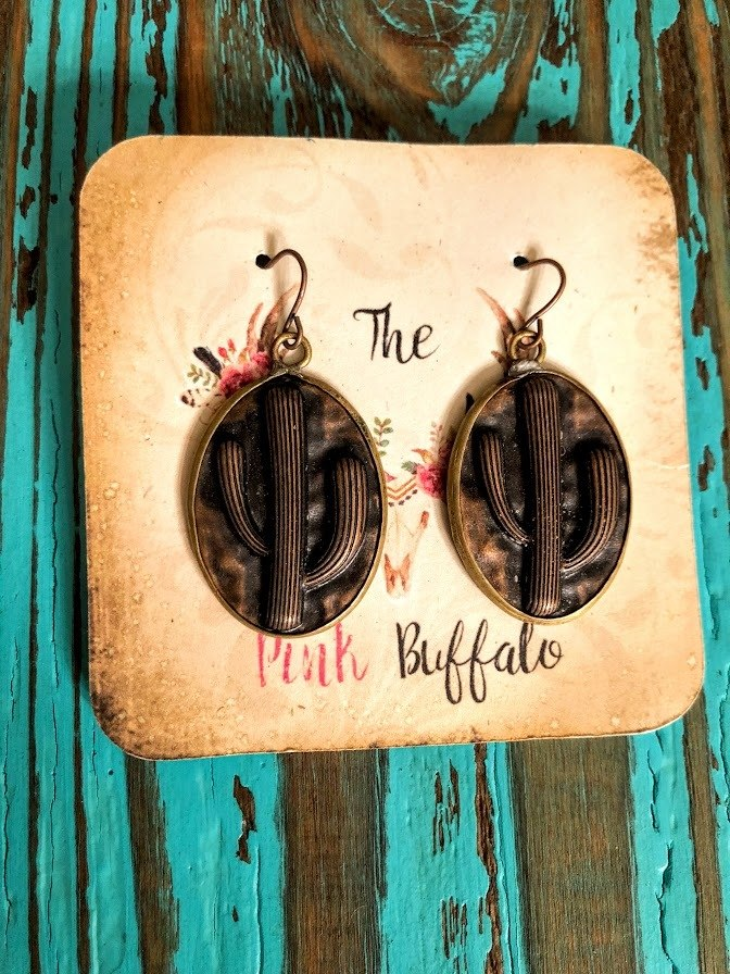 Cactus Earrings-Bronze - The Pink Buffalo,LLC