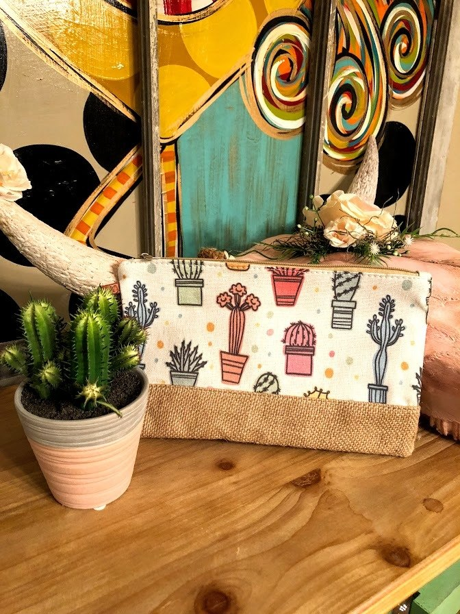 Polka Dot Cactus Makeup Bag