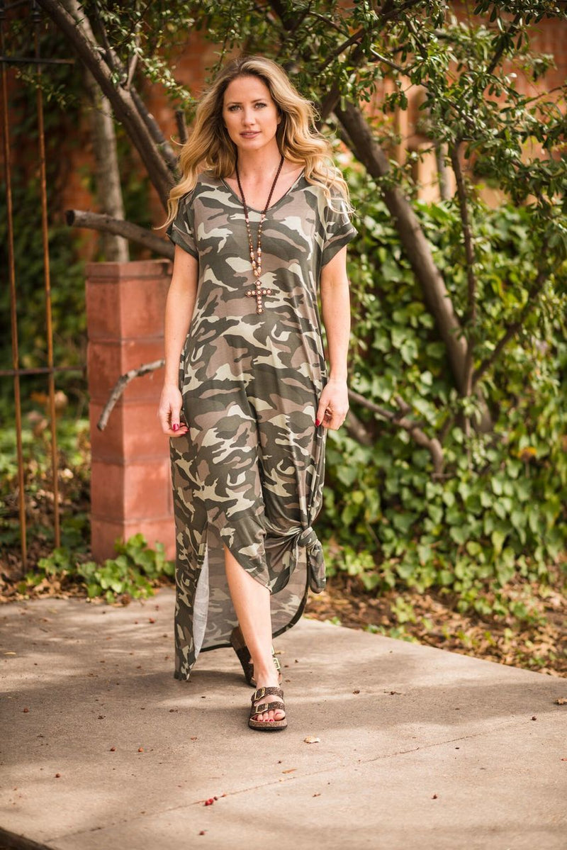 Camo Maxi Dress-PLUS - The Pink Buffalo,LLC
