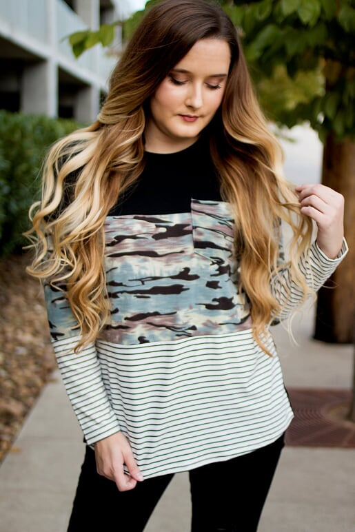 Camo & Striped Top