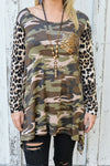 Camo & Leopard Top with Sequin Pocket-PLUS - The Pink Buffalo,LLC