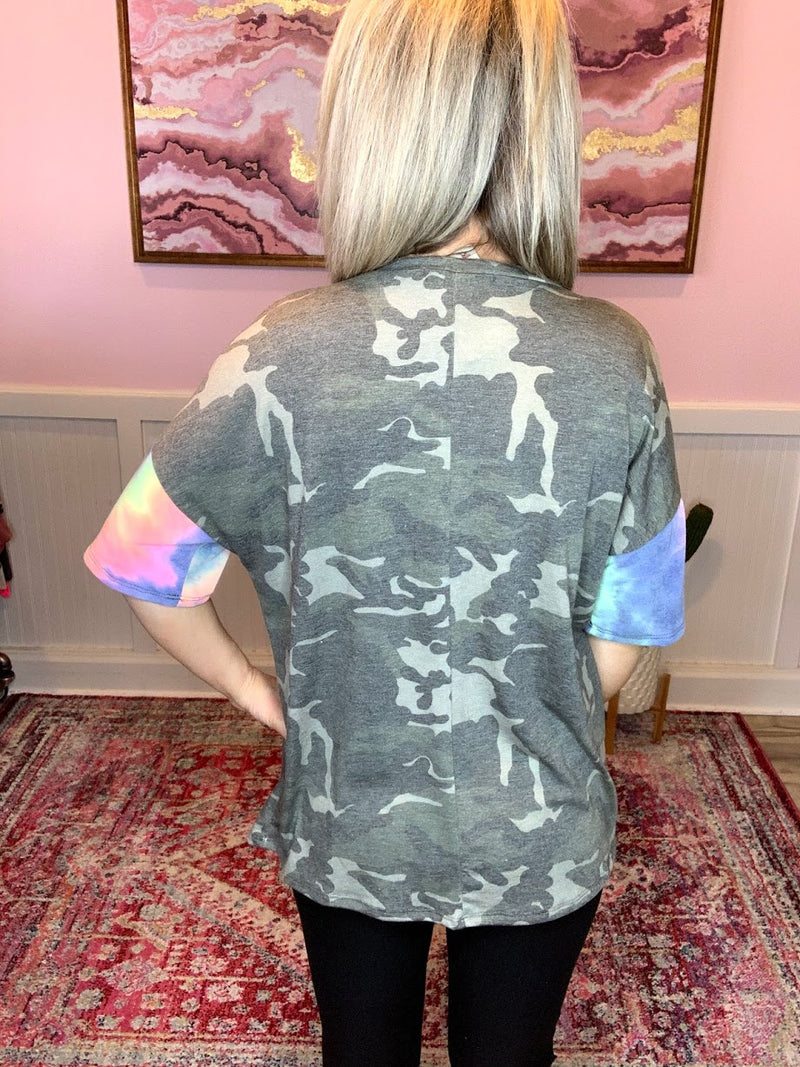 Camo Top with Tie Dye Sleeves