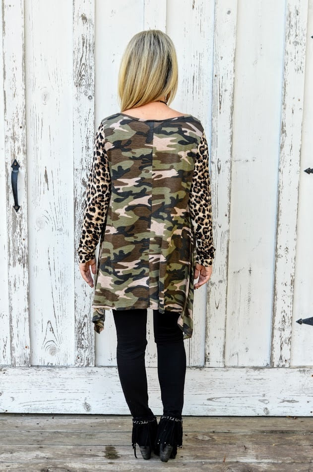 Camo & Leopard Top with Sequin Pocket - The Pink Buffalo,LLC