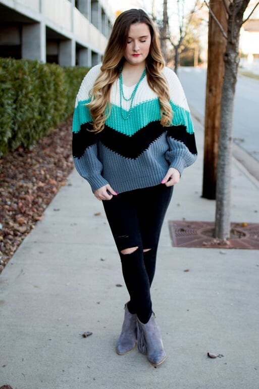 Chevron Sweater-Teal