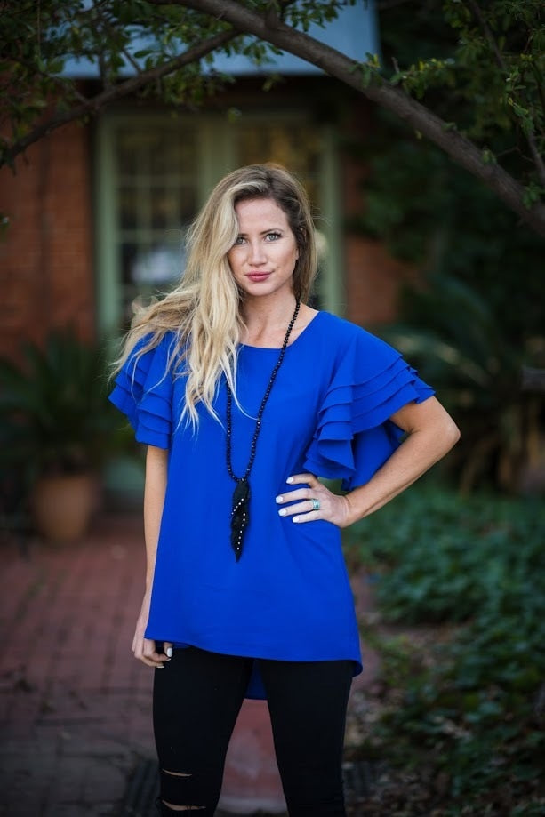 Cobalt Ruffle Top - The Pink Buffalo,LLC