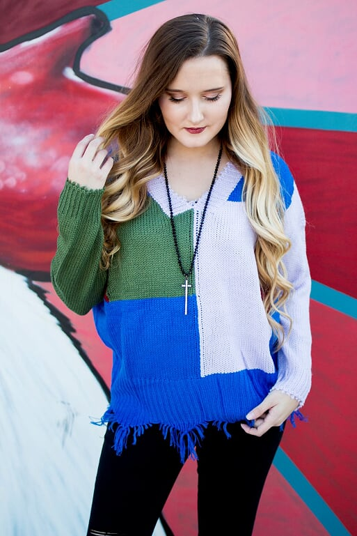 Cobalt Color Blocked Distressed Sweater