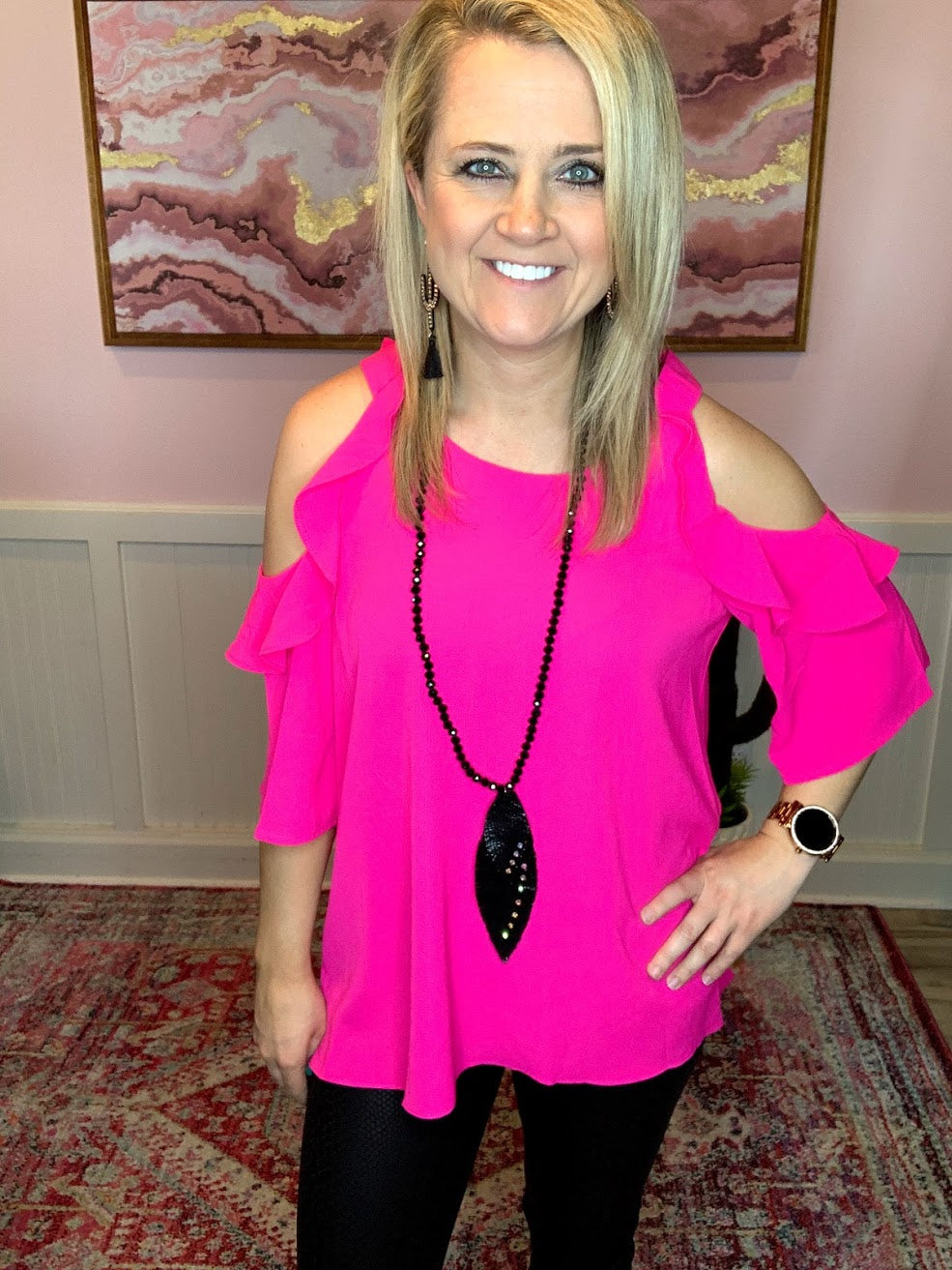 Hot Pink Cold Shoulder Ruffle Top-PLUS