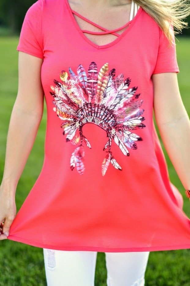 Coral Indian Headdress - The Pink Buffalo,LLC