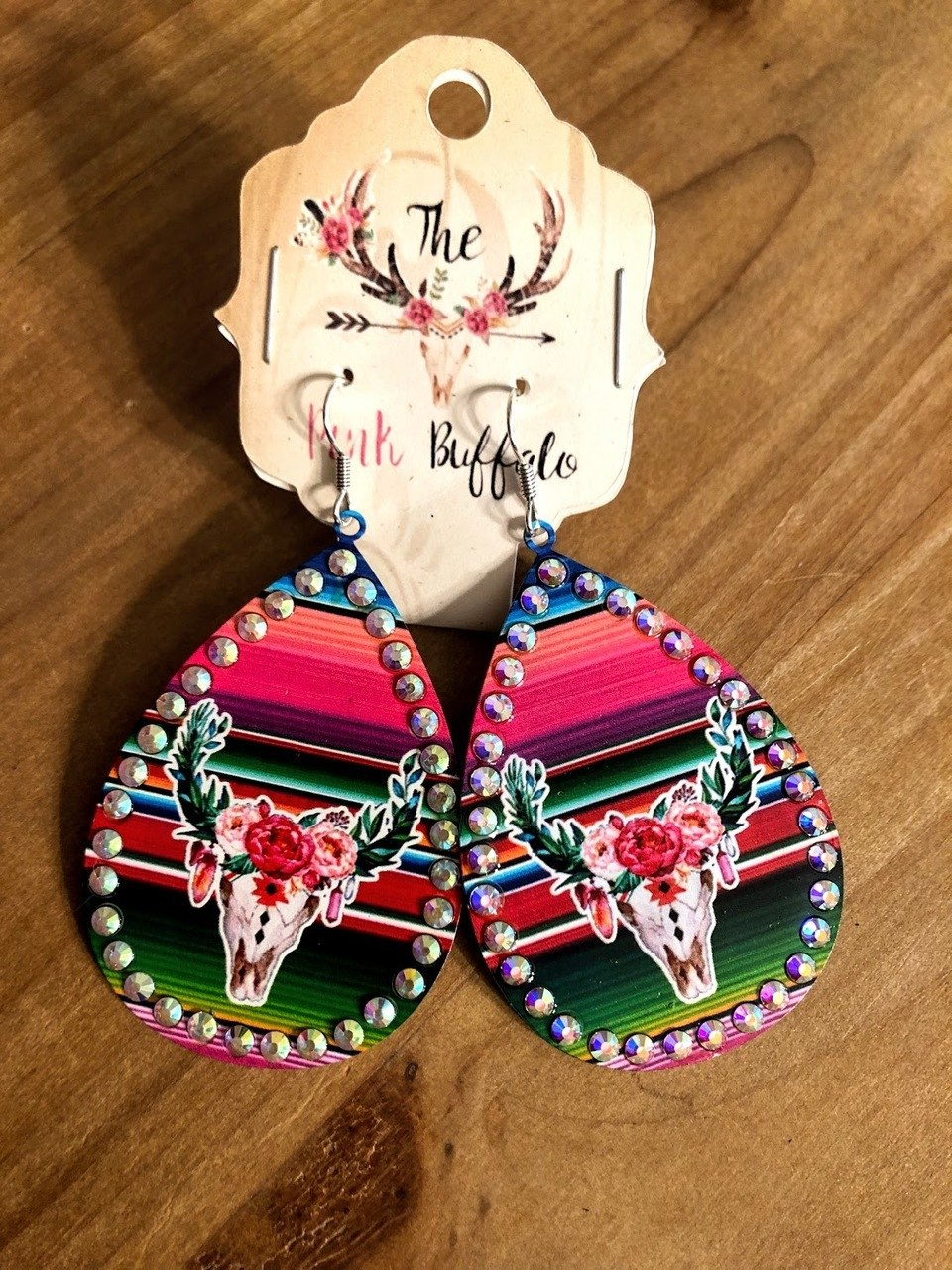 Cowskull Serape Earrings - The Pink Buffalo,LLC