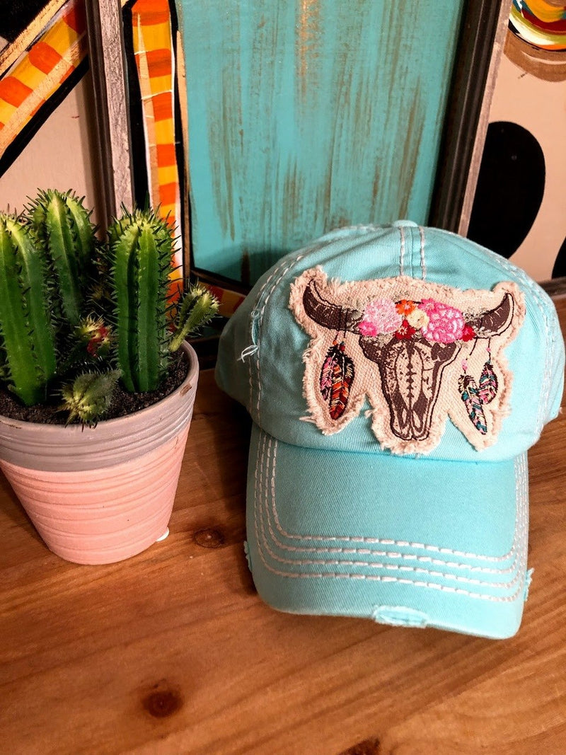 Cowskull Cap-Baby Blue - The Pink Buffalo,LLC