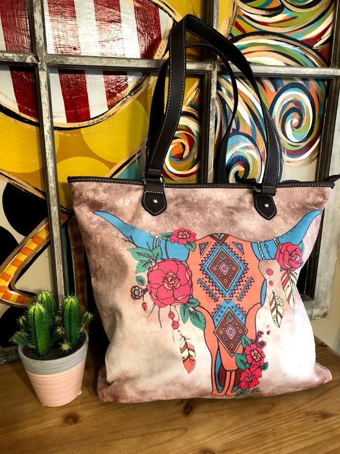 Cowskull Tote - The Pink Buffalo,LLC