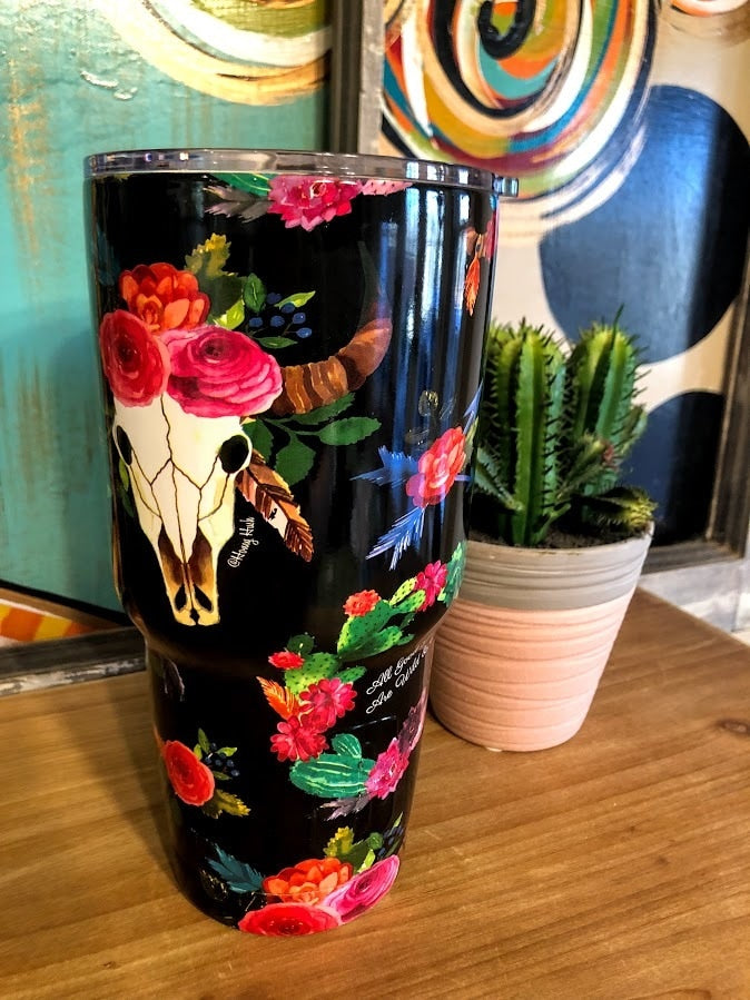 Cowskull Tumbler - The Pink Buffalo,LLC