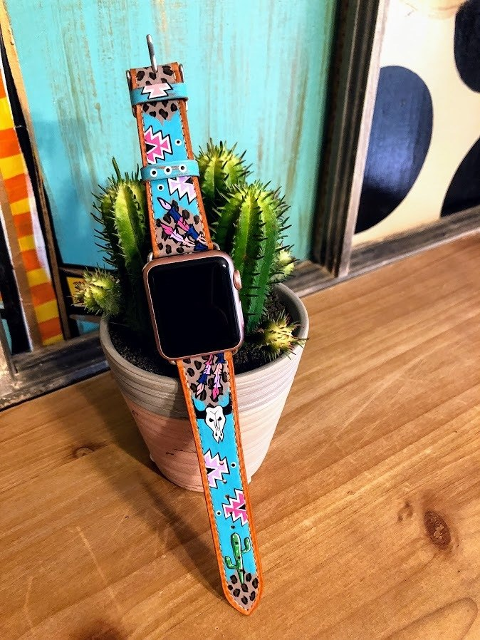 Turquoise Cowskull Watch Band
