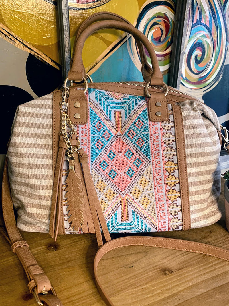 Aztec Bag with Creme Stripes