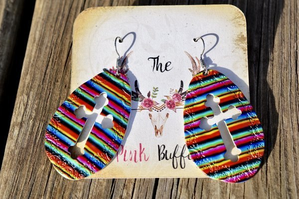 Multicolored Cross Earrings
