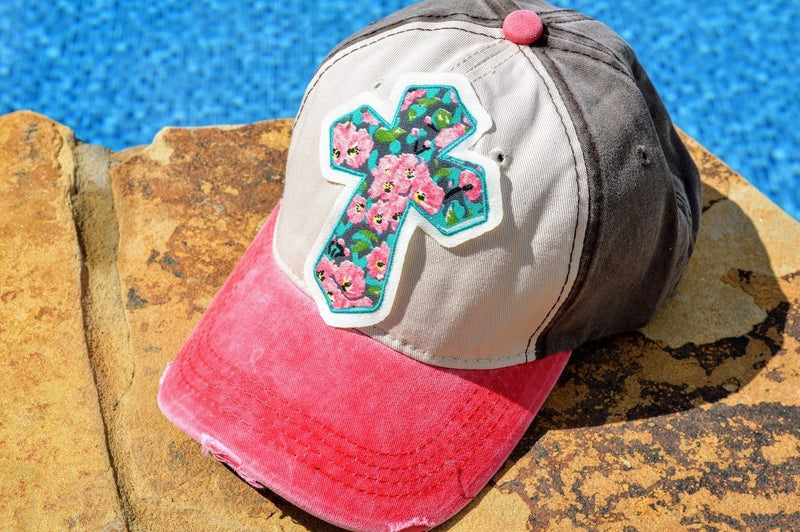 Cross Hat with Rose Patch - The Pink Buffalo,LLC
