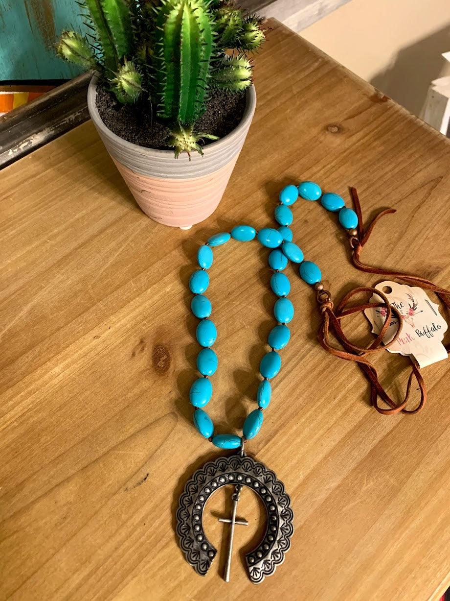 Turquoise Squash Cross Necklace
