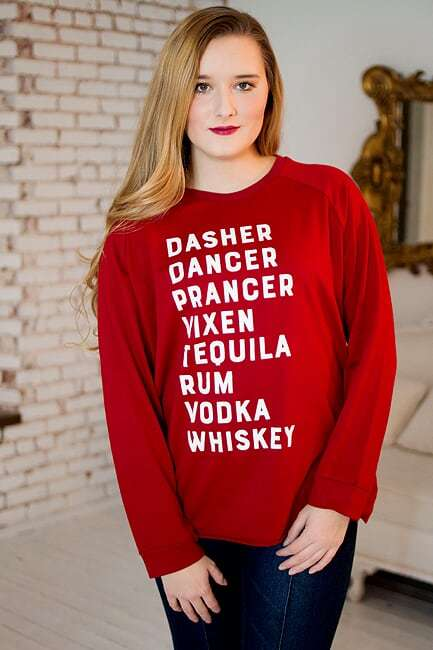 Dasher, Dancer, Tequila Sweatshirt - The Pink Buffalo,LLC