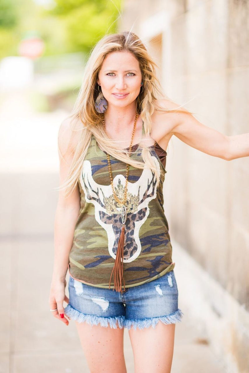 Camo Deer Hunter Tank - The Pink Buffalo,LLC