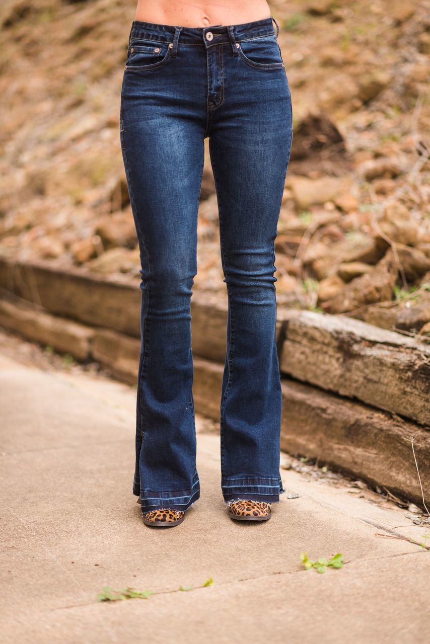 Dark Denim Flares with Side Slit - The Pink Buffalo,LLC