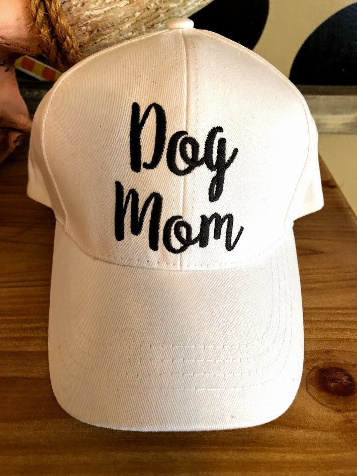 Dog Mom Cap-White