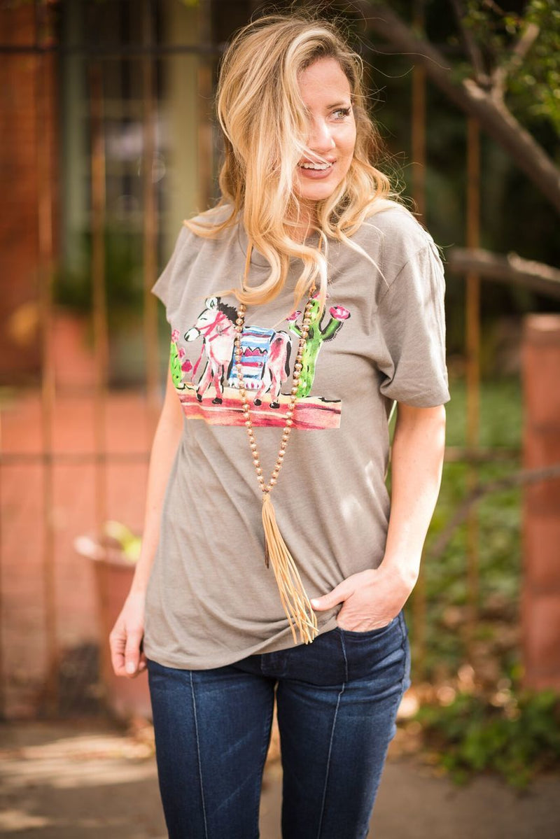 Cactus Donkey Tee - The Pink Buffalo,LLC