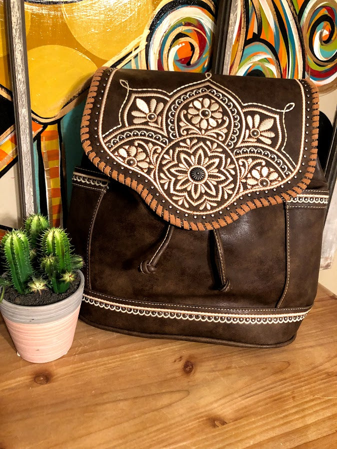 Embroidered Floral Backpack-Chocolate