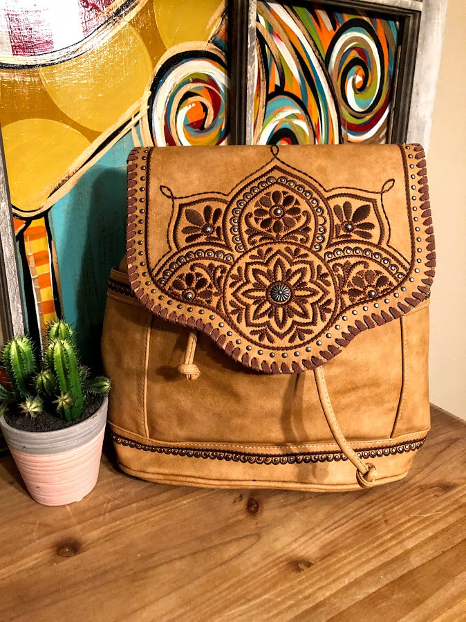 Embroidered Floral Backpack-Camel