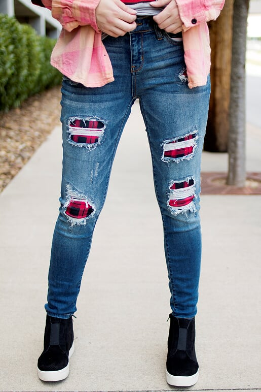 Flannel Distressed Jeans