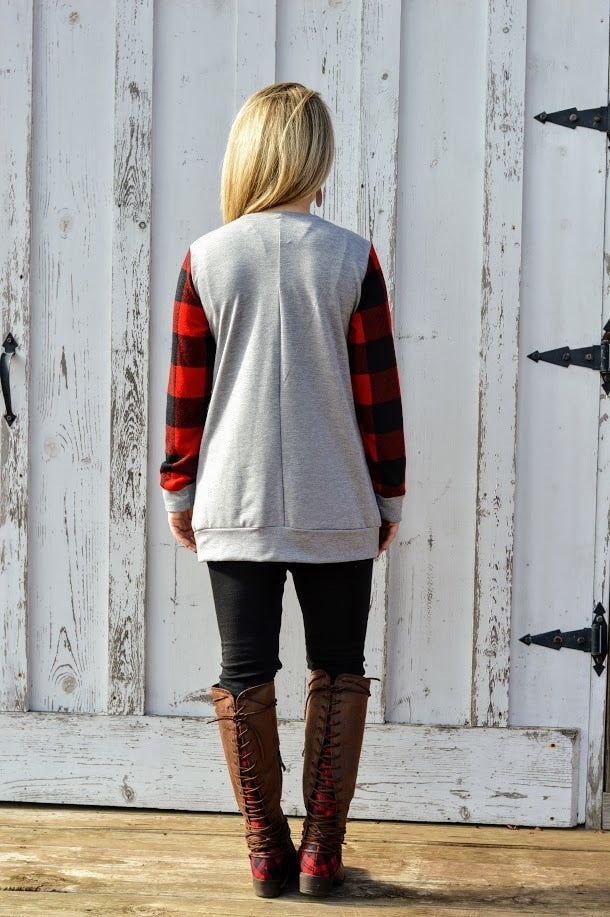 Reindeer Buffalo Plaid Sweatshirt