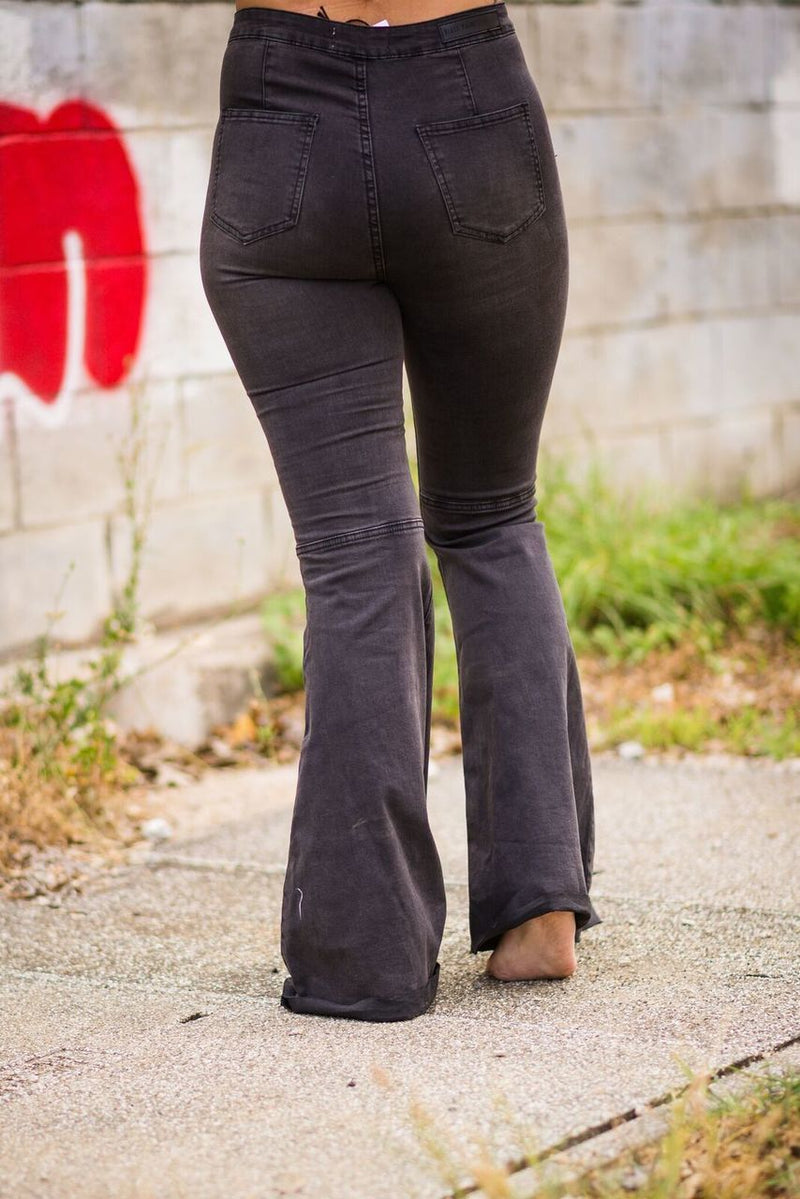 Charcoal Flare Denim Jeans - The Pink Buffalo,LLC